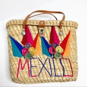 Mexico Straw Tote Bag Yarn Knit Souvenir Purse